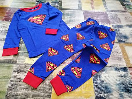 Пижама детская для мальчика  коттоновая  Супермен  2,4 года синяя, фото 2