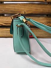 Женский клатч бирюзового цвета на один отдел с клапаном и регулируемым ремнем, фото 2