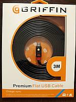 Кабель для зарядки и передачи данных Griffin micro usb 3 метра Data cable Черный