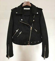 Жіноча замшева куртка-косуха чорна