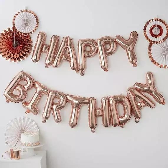 Фольгированные буквы с днем рождения розовое золото 13 букв.