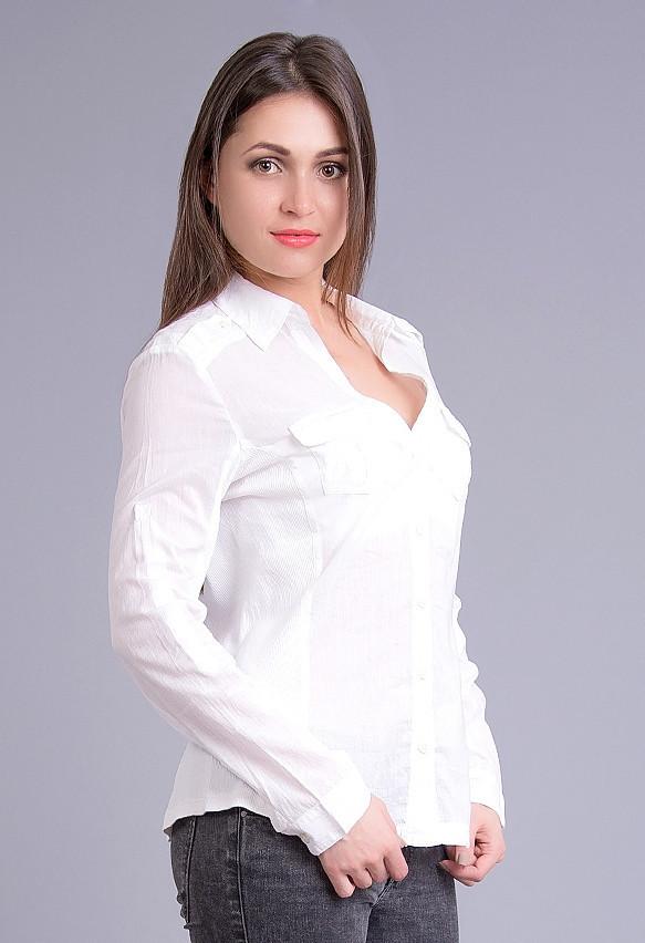 f37cbb7fd29 Рубашка Белая с Трикотажными Вставками По Бокам