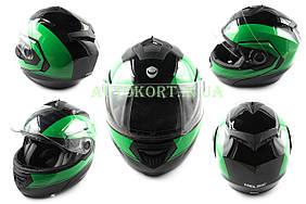 Шлем трансформер   (mod:FL258) (size:L, черно-зеленый)   HELMO