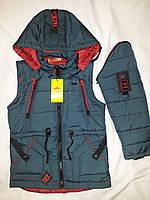 Демисезонная куртка-жилетка (парка) на мальчика, р. 26-36. Опт, дропшиппинг, розница.