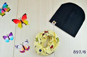 Шапка детская  демисезонная весна-осень из снудом в комплекте 6 мес-6 лет., фото 2