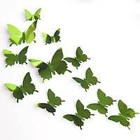 Набор №40 из 12шт зелёных декоративных 3-D бабочек, без магнита