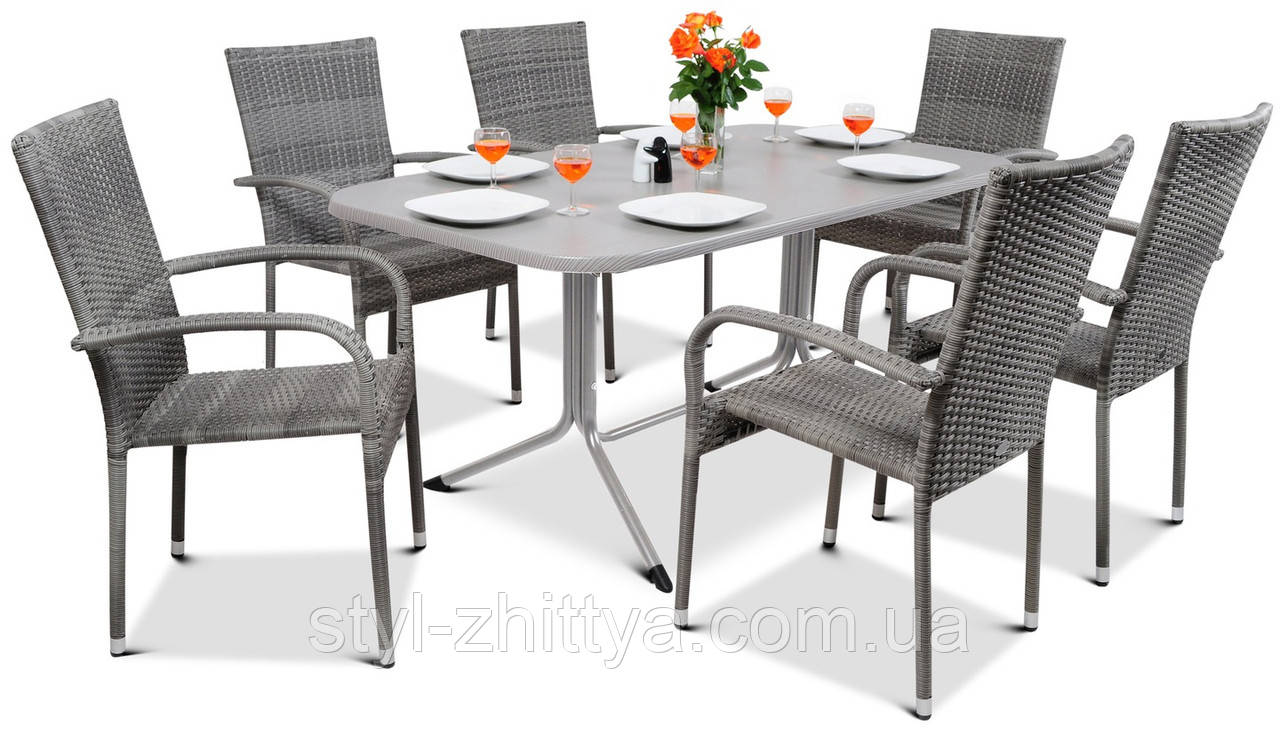 Набір меблів з штучного ротангу FIESTA / AVENUE 6 крісел + 1 стіл