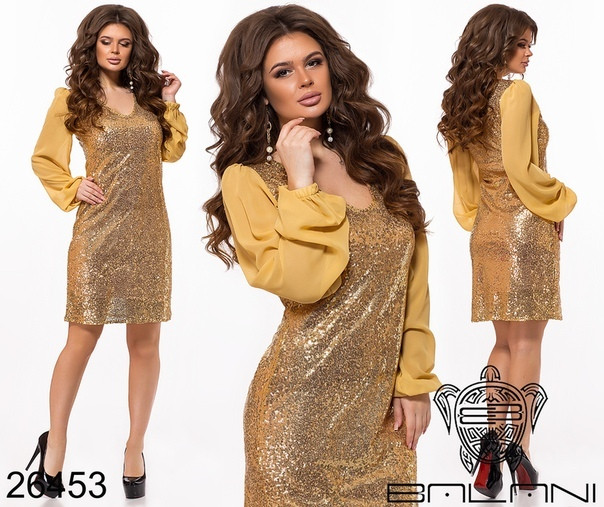 Платье из пайетки рукав шифон / 4 цвета арт 8454-611