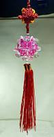 Подвеска фен-шуй / плетение / Шар хрустальный цветок / Розовый с красной лентой 36x6x6 см