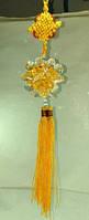 Шар хрустальный цветок Желтый / Подвеска фен-шуй Плетение 36x6x6 см