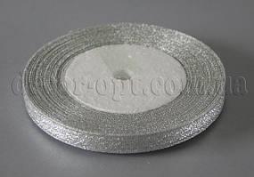 Лента парча серебро 1 см 25ярд