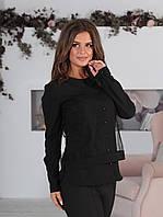 31a949a64c2 Строгая женская блузка с воротничком и вставкой из евро-сетки