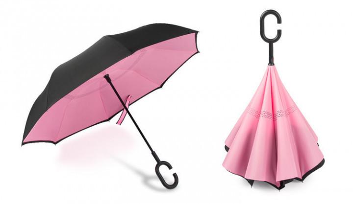 Зонт Наоборот - Зонт Обратного Сложения Up-brella черный/розовый