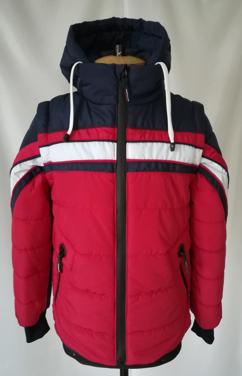 Осенняя куртка на мальчика удлиненная 32-42  Красный