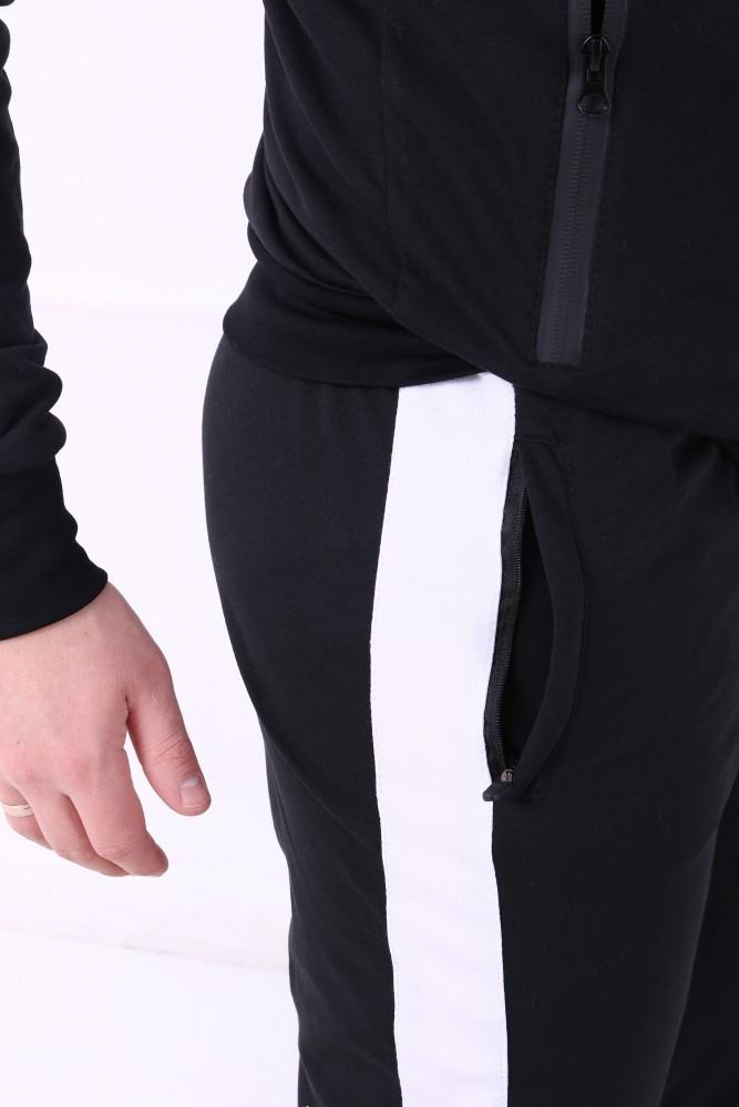 3a68738b Спортивные штаны Adidas черные с белым лампасом, купить в магазине ...