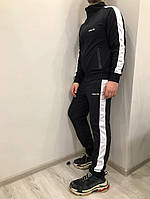 Спортивный костюм Adidas, черный с белыми лампасами, фото 1