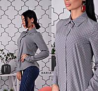 37adc74bb Рубашка женская стильная в горошек классика софт разные цвета Bch288