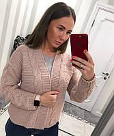 Кофта женская вязаная теплая узор косы разные цвета Ssvv403, фото 1