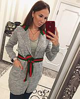 Кардиган женский вязаный в стиле Gucci с карманами и поясом разные цвета Pvv131
