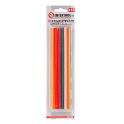 Комплект цветных клеевых стержней 7.4мм*200мм, 12шт INTERTOOL RT-1032