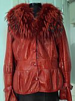Дублёнка в кожаном покрытии на овчине воротник енот цельный длина 62см цвет-красный ОГ-108 ОБ-114