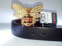 Ремень кожаный с пчелой под золото
