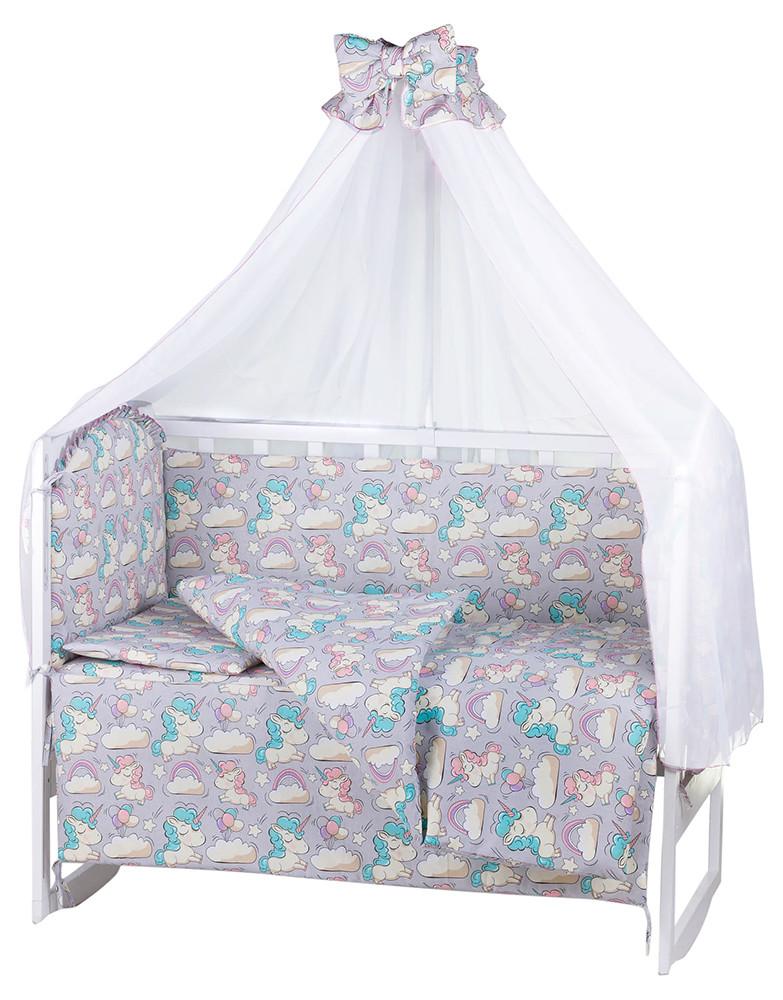 Детская постель Babyroom Comfort-08 unicorn серый (единороги)