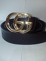 Стильный кожаный черный ремень в стиле GUCCI