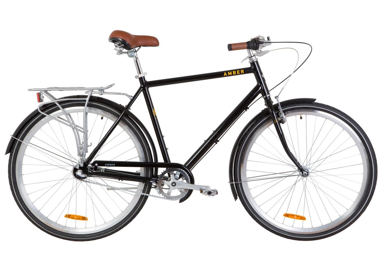 """Городской дорожный велосипед 28"""" Dorozhnik AMBER 14G планет. Al, с крылом St 2019 (черно-желтый)"""