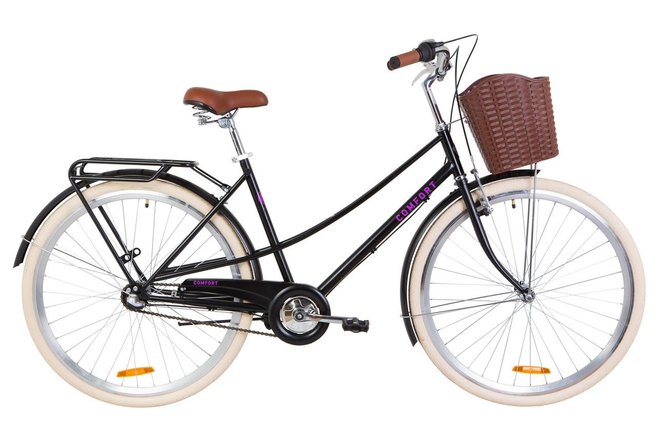 """Велосипед 28"""" Dorozhnik COMFORT FEMALE 14G планет. St с багажником зад St, с крылом St, с корзиной Pl 2019 (черный (м))"""