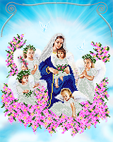 """Схема на ткани для вышивки """"Богородица с ангелами"""""""