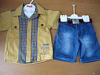 Детский модный летний котоновый костюм 3ка для  мальчика, 1,2,3 года Турция. , фото 1