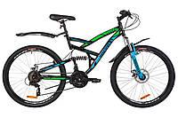 """Велосипед 26"""" Discovery CANYON AM2 14G DD St с крылом Pl 2019 (черно-синий с зеленым)"""