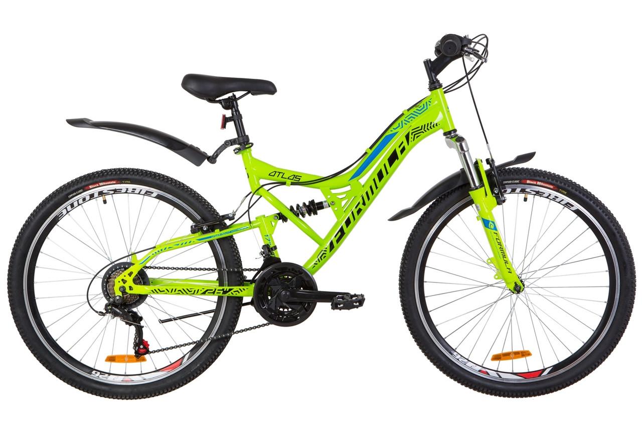 """Горный велосипед 26"""" Formula ATLAS AM2 14G Vbr St с крылом Pl 2019 (салатно-синий)"""