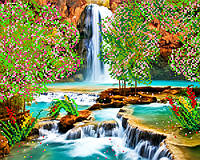 """Схема на ткани для вышивки """"Весенний водопад"""""""