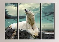 """""""Белый медведь"""" Модульная картина на холсте для интерьера"""