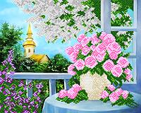 "Схема на ткани для вышивки ""Весенний сад"""