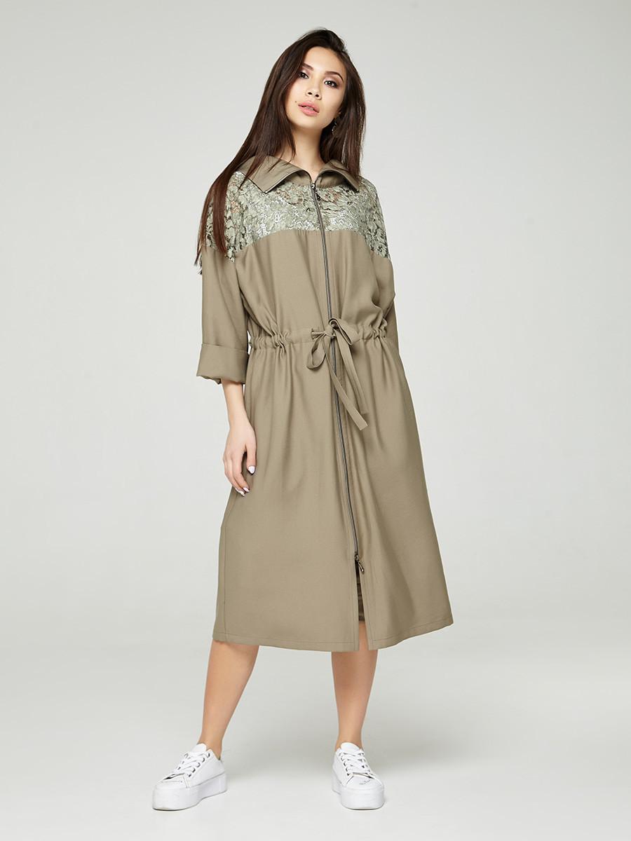 2305 платье-тренч Абелия, олива (S)