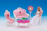 Игровой набор Мебель для кукол пластиковая Гостиная, 1204 от 3 лет, Подарок для девочки, Барби с мебелью,