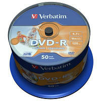 Диск DVD Verbatim 4.7Gb 16X CakeBox 50шт AZO Print (43533)