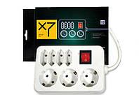 Фильтр-удлинитель сетевой LogicPower LP-X7, 7 розеток, цвет-белый, 3,0 m