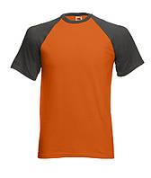 Футболка short sleeve baseball T. Цвет оранжево-графитовый