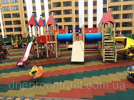 Резиновое травмобезопасное покрытие для детских площадок 35 мм, фото 2