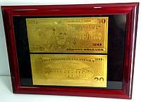 Подарочное панно с золотой 20 $ банкнотой