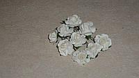 Бутоньерка розы белой бумажной 8 шт
