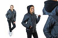 Бомбер,куртка-стеганка женская (36-42),капюшон на флисе,черная и красная