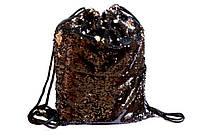 Сумка для взуття Kidis 13626 для дівчинки тканинна чорна з двосторонніми паєтками, 42*34 см
