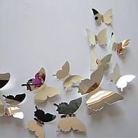Набор №36 из 12 шт серебряных, зеркальных декоративных 3-D бабочек без магнита