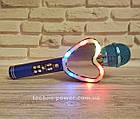 Портативный bluetooth караоке-микрофон Q5 Сердце Синий с подсветкой, фото 3
