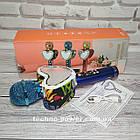 Портативный bluetooth караоке-микрофон Q5 Сердце Синий с подсветкой, фото 2